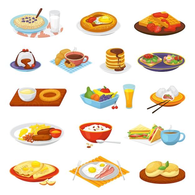 Klassiek hotel ontbijt eten menu maaltijd set van illustraties. koffie, gebakken eieren, spek, toast en sinaasappelsap, croissant, jam en ontbijtgranen. restaurant traditioneel ontbijt eten. Premium Vector
