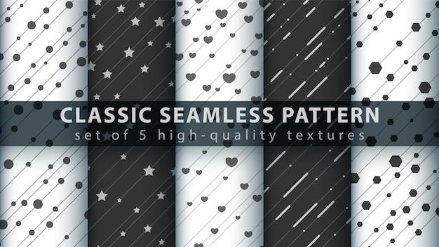 Klassiek liefdehart naadloos patroon Premium Vector