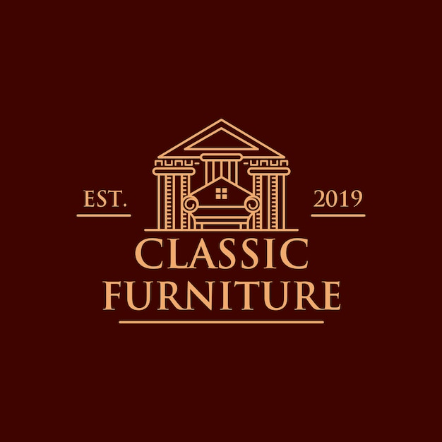 Klassiek meubilair huis logo Premium Vector