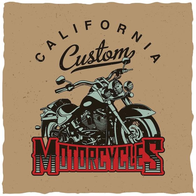 Klassiek motorfietsenontwerp voor t-shirtdruk Premium Vector