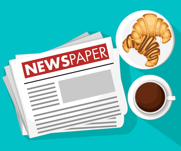 Klassiek ochtendconcept. krantennieuwsbeeld, koffie met croissants. kleur pictogram. illustratie op witte achtergrond. website-pagina en mobiele app Premium Vector