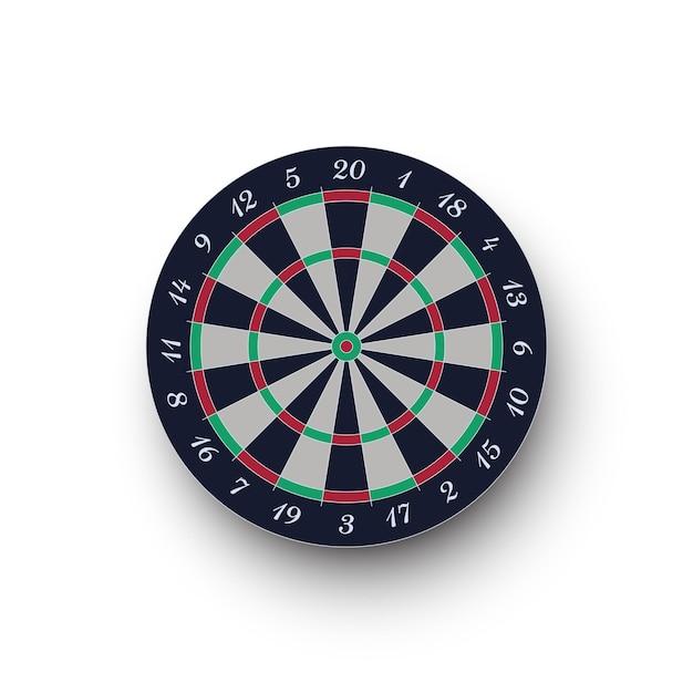 Klassiek realistisch dartbord dat op witte achtergrond wordt geïsoleerd Premium Vector