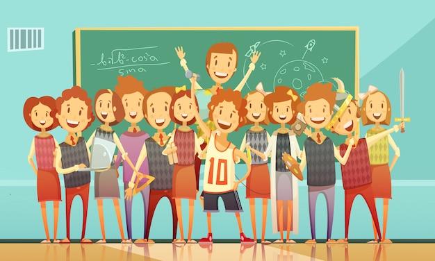 Klassiek school onderwijs klaslokaal retro cartoon poster met lachende kinderen staan Gratis Vector