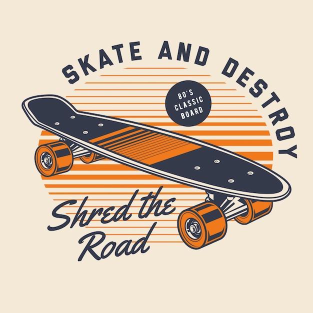 Klassiek skateboard Premium Vector