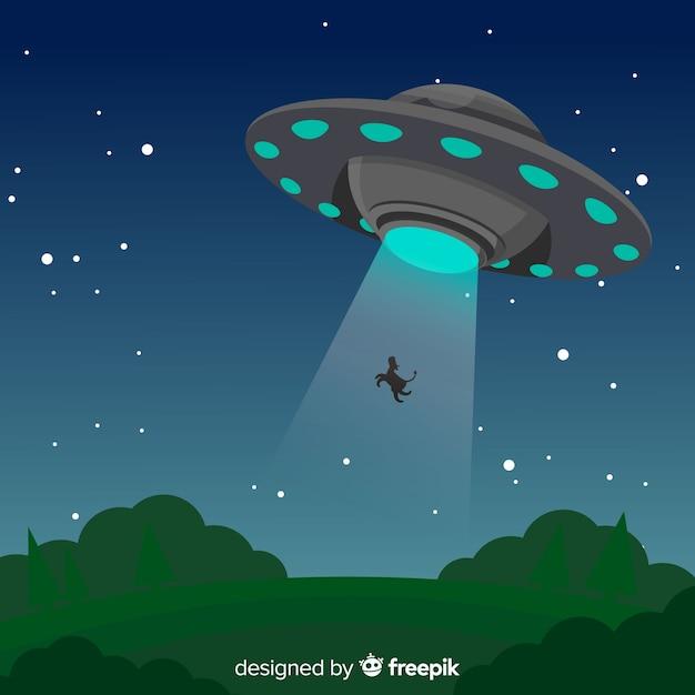 Klassiek ufo-abductieconcept met plat ontwerp Gratis Vector