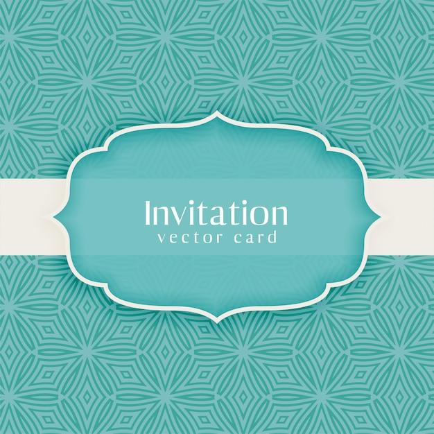 Klassiek uitnodigings vintage decoratief blauw Gratis Vector