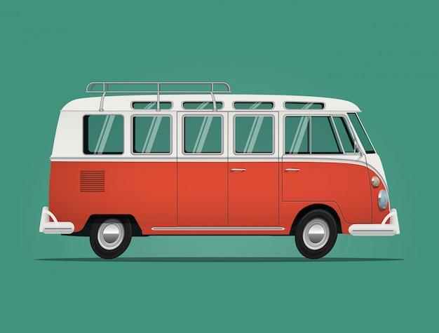 Klassieke 60's vintage rode hippie bus geïsoleerd op groene achtergrond Premium Vector