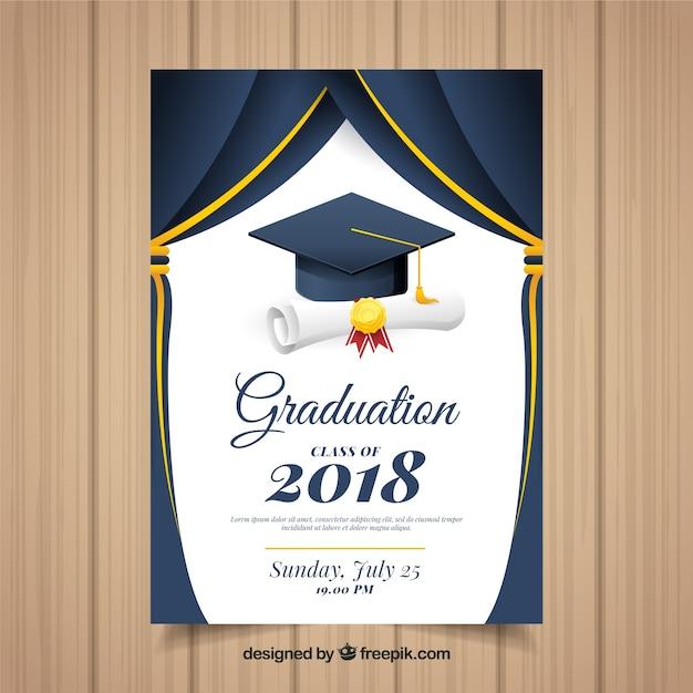 Klassieke afstuderen uitnodigingssjabloon met platte ontwerp Gratis Vector