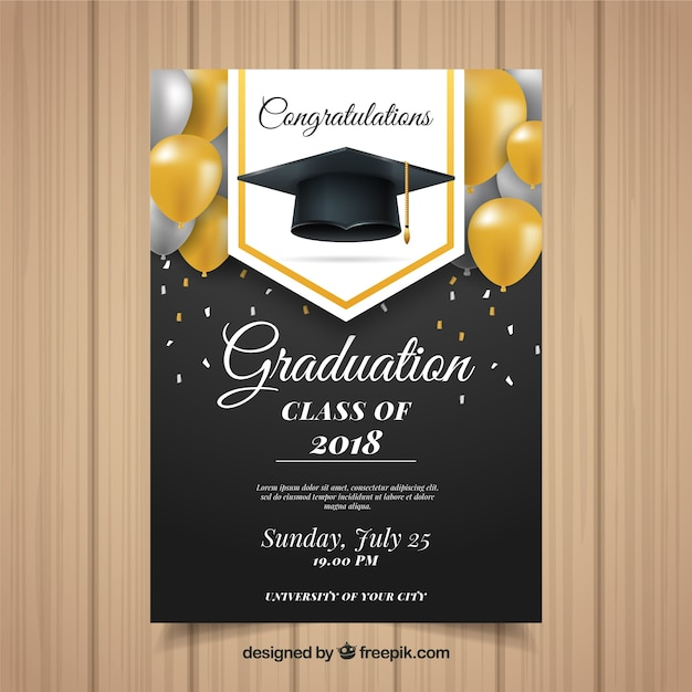 Klassieke afstuderen uitnodigingssjabloon met realistische ontwerp Gratis Vector