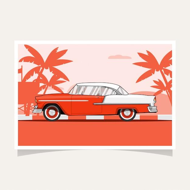 Klassieke auto conceptuele ontwerp platte illustratie vector Premium Vector