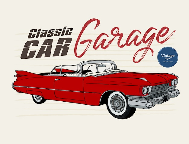 Klassieke auto, vintage stijl. hand tekenen schets vector. Premium Vector
