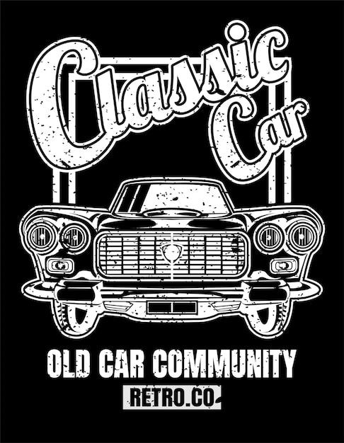 Klassieke auto, vintage stijl, posters, t-shirt en bedrukte producten. Premium Vector