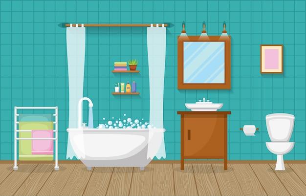 Klassieke badkamer interieur schone kamer houten accent meubels plat ontwerp Premium Vector