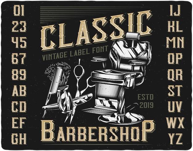 Klassieke barbershop label lettertype Premium Vector