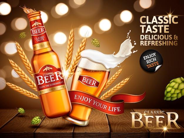 Klassieke bieradvertentie in fles en glas, met felrode etiketten erop, illustratie Premium Vector