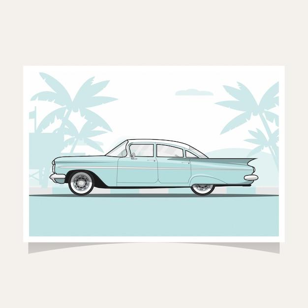 Klassieke blauwe auto conceptuele vlakke de illustratievector van het ontwerp Premium Vector