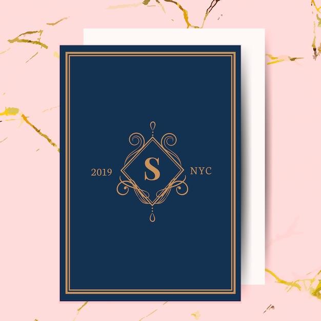 Klassieke bruiloft uitnodigingskaart Gratis Vector