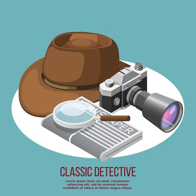 Klassieke detective-elementen Gratis Vector