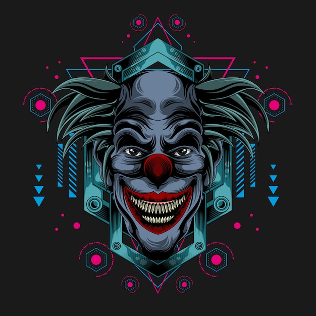 Klassieke donkere clown Premium Vector