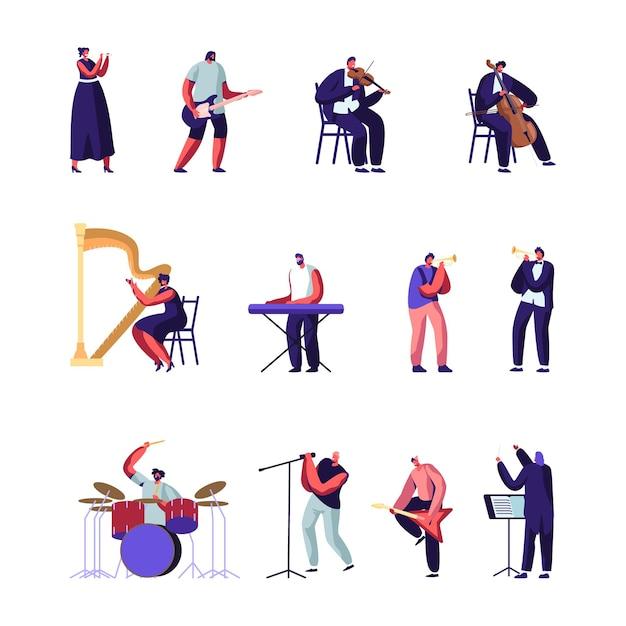 Klassieke en populaire muziekartiesten. cartoon vlakke afbeelding Premium Vector