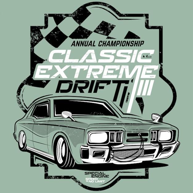 Klassieke extreme drift, klassieke auto-illustraties Premium Vector