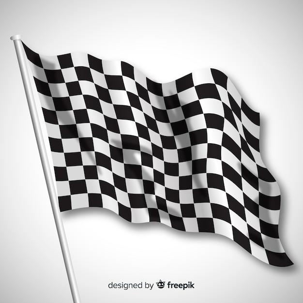 Klassieke geruite vlag met realistisch ontwerp Gratis Vector