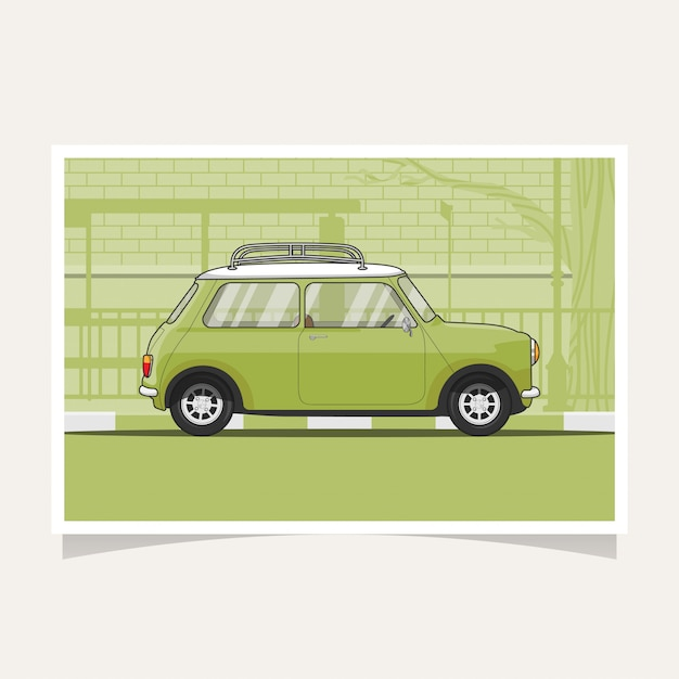 Klassieke groene vector de illustratie vlakke illustratie van het auto conceptuele ontwerp Premium Vector