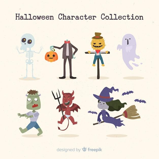 Klassieke halloween-karaktercollectie met plat ontwerp Gratis Vector
