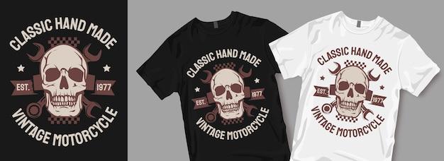 Klassieke handgemaakte vintage motorfiets symbool t-shirt design merchandise Premium Vector