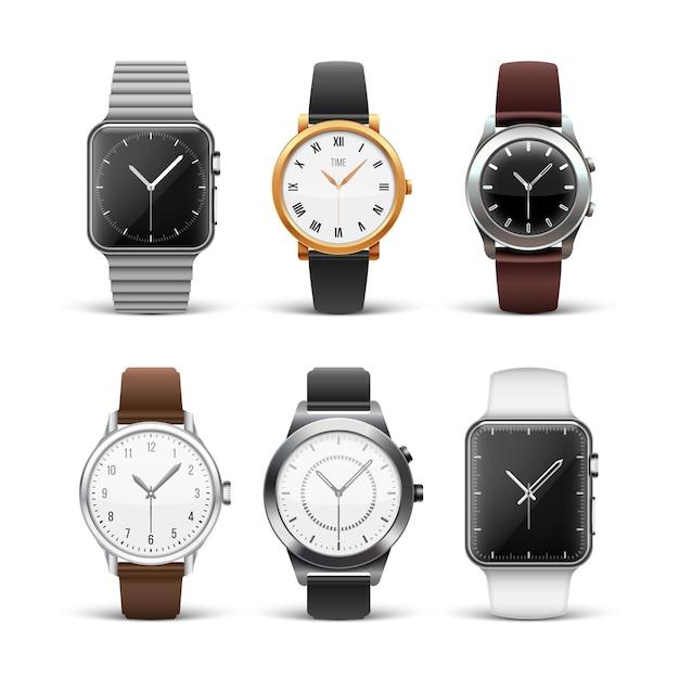Klassieke horloges die op witte reeks worden geïsoleerd Premium Vector