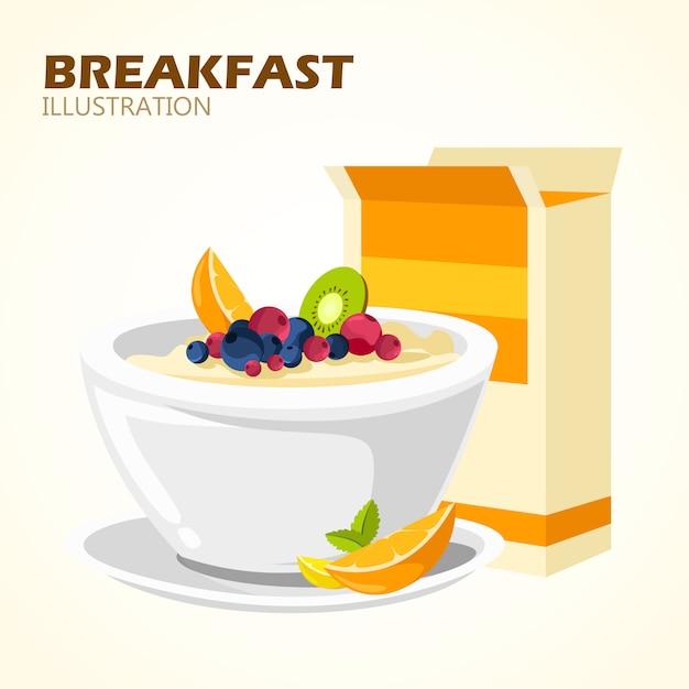 Klassieke hotel ontbijt menu poster Gratis Vector