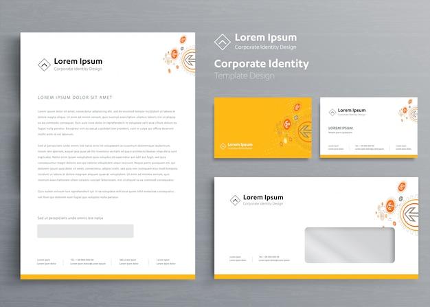 Klassieke kantoorbehoeften bedrijfsidentiteit Premium Vector