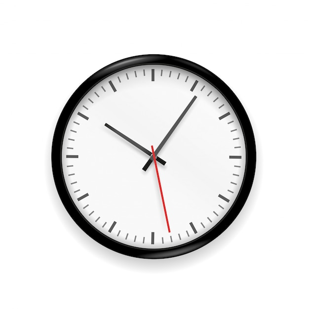 Klassieke klok die op witte achtergrond wordt geïsoleerd Premium Vector