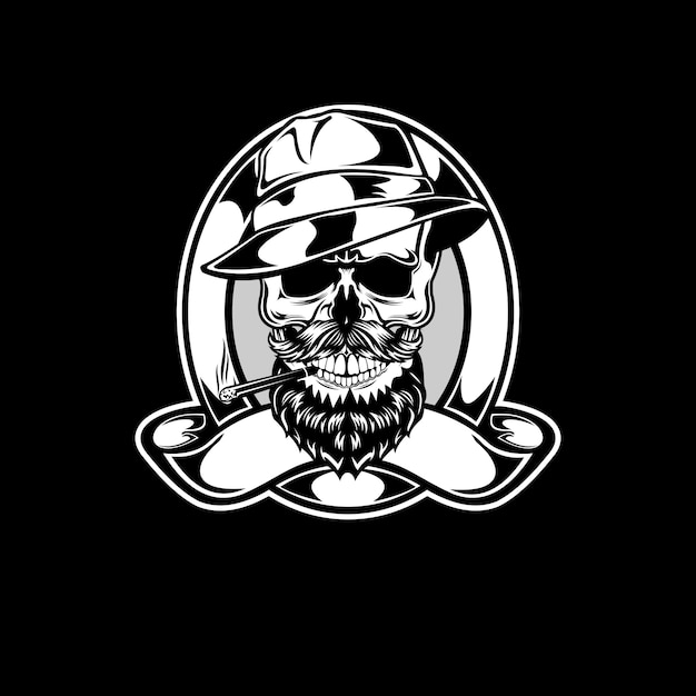 Klassieke maffia schedel Premium Vector