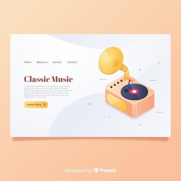 Klassieke muziek-bestemmingspagina Gratis Vector