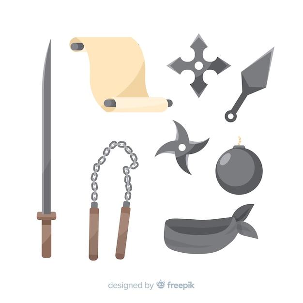 Klassieke ninja-compositie met plat ontwerp Gratis Vector