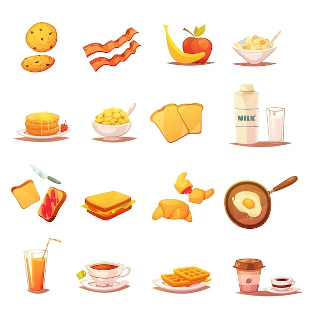 Klassieke ontbijtpictogrammen Gratis Vector