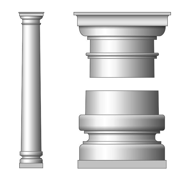 Klassieke oude kolom. op wit Gratis Vector
