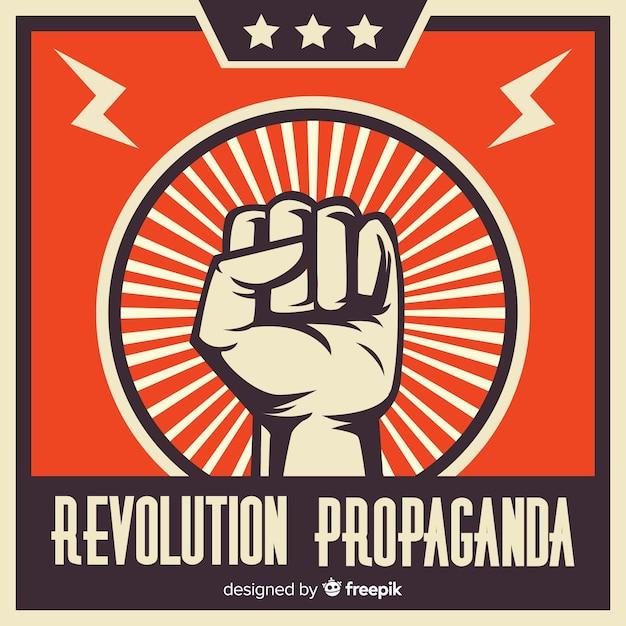 Klassieke revolutiesamenstelling met opgeheven vuist Gratis Vector