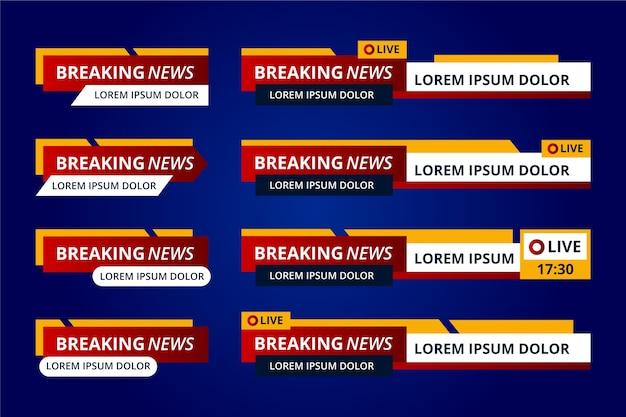 Klassieke rode en gele breaking news-banners Gratis Vector