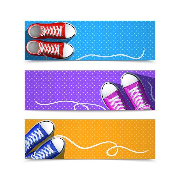Klassieke rubberen gumshoes hipster accessoires horizontale banner set Gratis Vector