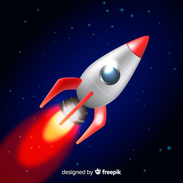 Klassieke ruimteraket met een realistisch ontwerp Gratis Vector