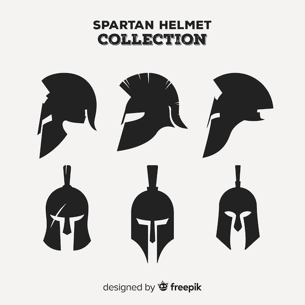 Klassieke set spartaanse helm met plat ontwerp Gratis Vector