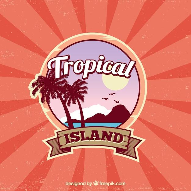 Klassieke tropische achtergrond met vintage stijl Gratis Vector