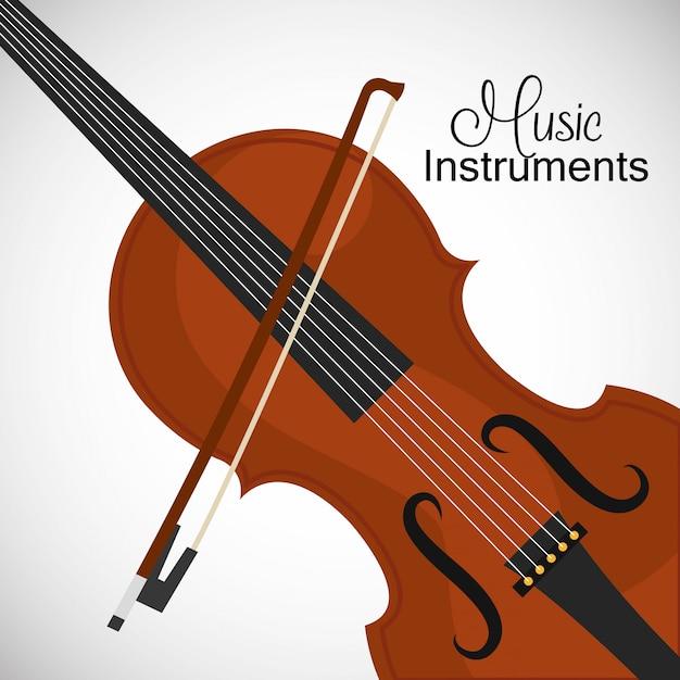 Klassieke viool met strijkstok Gratis Vector