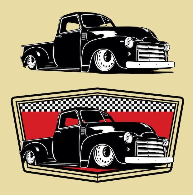 Klassieke vrachtwagen-illustraties Premium Vector
