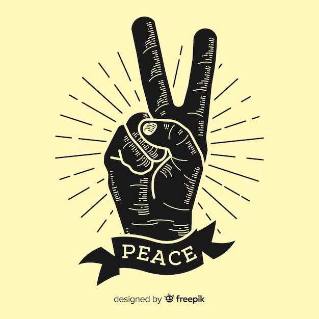 Klassieke vrede vingers symbool met vintage stijl Gratis Vector
