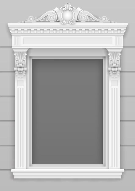 Klassieke witte architectonische raamgevel voor het frame Premium Vector