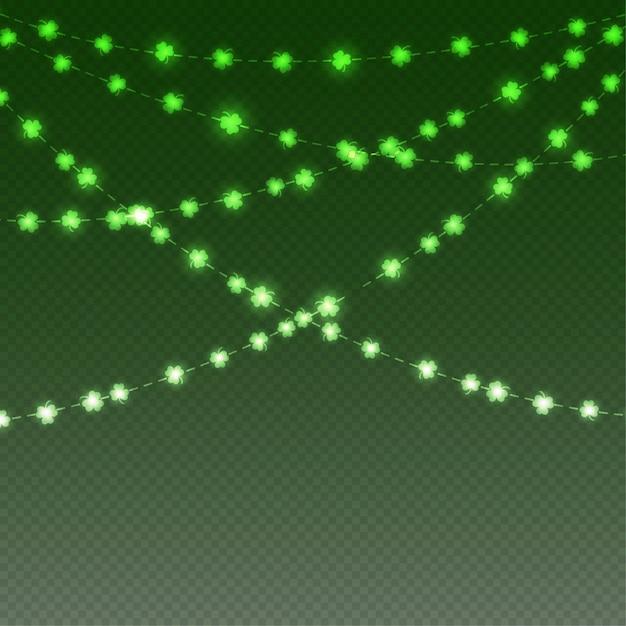 Klaverblad met groen licht Premium Vector
