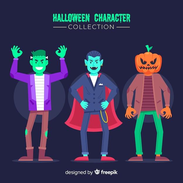 Kleding voor jonge volwassen platte halloween-tekencollectie Gratis Vector